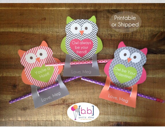 Pencil Owl Personalized Valentine's Day Cards- Printable or Shipped