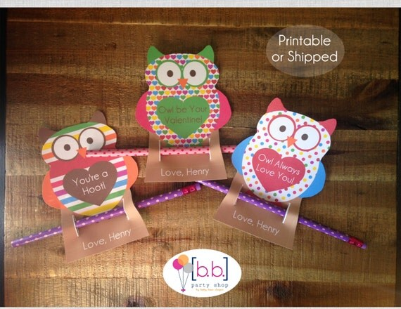 Pencil Owl Personalized Valentine's Day Cards- Printable or Shipping