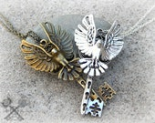 Love in Flight /  Couples Necklace Set / Best Friends Necklace / Fantasy Key Necklace / Couple Necklaces / Key to my Heart Necklace