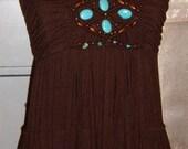 Vintage, Boho Dress, Brown Dress, Tiered Dress, Turquoise Beads, Boho Festival Dress
