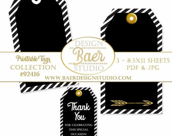 Party Favor Tags, Black and Gold Printable Tags, Back to School Tags, Black and White Tags, Thank You Tags, Wedding Favor Tags, #92416
