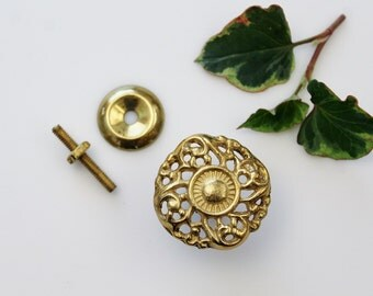 Vintage Round Brass Drawer Pull with Attachments - Anglo-American Brass Co. Brass Furniture Hardware NOS