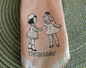 B603)  Vintage Thursday Child's Day of the Week  Handkerchief