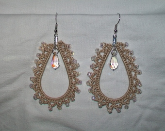 Beautiful Crocheted Teardrop Earrings