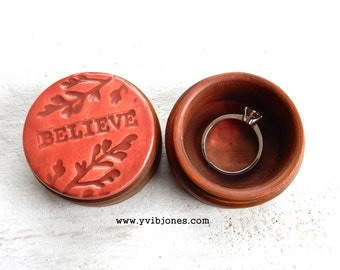 BELIEVE Coral Wedding Ring Keepsake Box Unique Anniversary Jewelry Storage Box Valentines Day Birthday Gift Handmade One of a kind Wooden