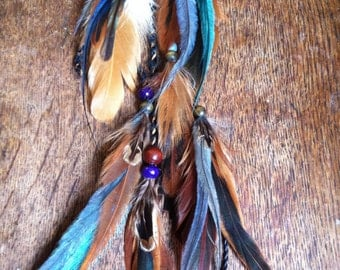 Feather Hair Clip//Long Feather Hair Clip//Hair Feathers//Feather Hair Extensions//Boho Hippie Gypsy Pirate Pixie//Feather Earrings