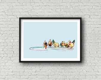 Chickens - PRINT of original artwork