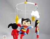 Super Heroes baby crib felt mobile