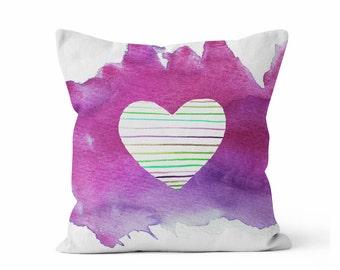 Pillow Cover, Pink Purple, Rainbow Striped Heart Pillow,  Throw Pillow COVER w/optional insert,Accent Throw Pillow, Watercolor Art,  Pillow