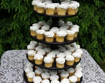 Cupcake Stand, Wood Cupcake Stand, Round Cupcake Stand, Wedding Cupcake Stand, Large Cupcake Stand, 5 Tier Stand, Black Cupcake Stand