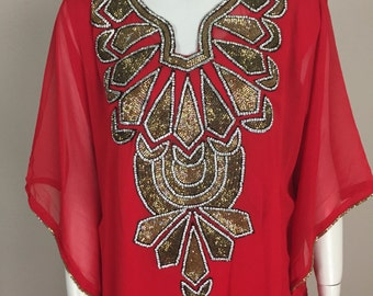 Red and Gold Embellished Caftan