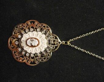 Golden Mini Cameo Necklace