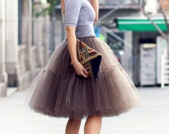 Latte  tulle skirt, tutu skirt, brown tutu.