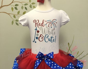 Girls 4th of july shirt, red white and cute!