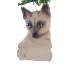 Siamese Cat Personalized Christmas Ornament place your feline's name on this beautiful detailed ornament (130)
