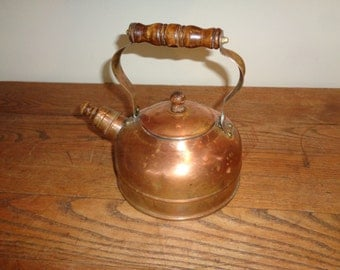Vintage Solid Copper Kettle with whistler tip on spout in Vintage Condition with wonderful well developed patina and can still hold water
