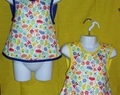 Baby & Toddlers Wrap N Snap Reversible Apron Bib PUL Monsters with Blue, Yellow or Green. Washable, Water resistant