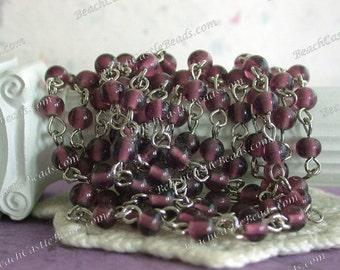 Rosary Chain, Beaded Chain, Amethyst Bead Chain, Chain, Bead Chain, Jewelry Chain, Glass Bead Chain CHN-049
