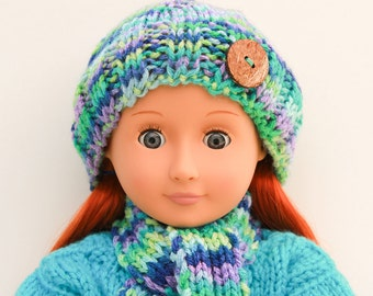 Fashion Doll Hand Knitted Blue-Green Winter Accessories, Hat, Scarf and Leg Warmers for 18 Inch Doll, Winter Fashion for Dolls