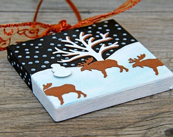 Moose Mini Canvas, Handmade Christmas Ornament, Snowy Landscape with Bare Tree, Three Moose and Snowman, Starry Night Scene, Mixed Media Art