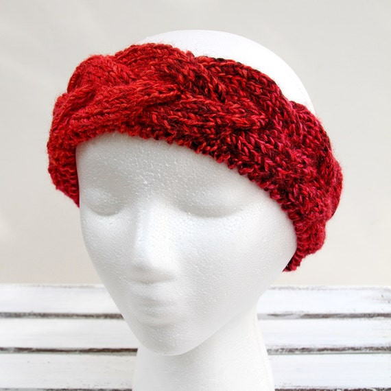 Red Cable Headband Hand Knit Head Wrap Adjustable Braided