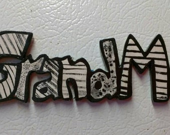 Hand made Grandma fridge magnet, hand painted wood, cut out letters, Kitchen Decor