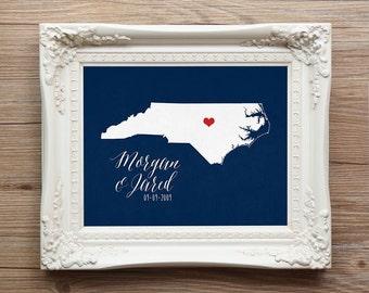 North Carolina or ANY state script Wedding Gift Personalized Custom Wedding Date Location City  Modern Art Print Map Couple 8x10 Charlotte
