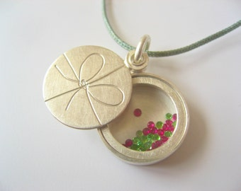 Floating locket ,Bow knot, modern locket, handmade sterling silver locket, with floating gems