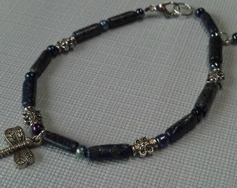Lapis Lazuli Gemstone Bracelet, Lapis Lazuli Dragonfly & Crystal Bracelet, Gemstone Jewelry, Blue Gemstone Bracelet, Gifts for Her, SALE