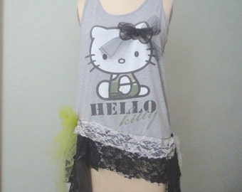 Hello Kitty Decorated Tank Top,  Funky Decorated Top, Black Lace Top, Racer Back Tank, Gray Altered Tank, Funky Chic Tunic, Urban Mori Girl