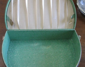 Semi-Round Sewing Accessory Box Green 1930s