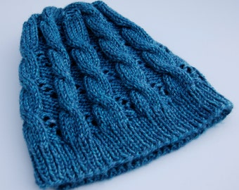 Hand knit beanie, blue knit hat, women's knit hat, knit blue hat, cable hat, blue beanie, hat with cables, acrylic beanie, knit acrylic hat