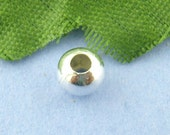 Silver Spacer Beads - Silver Plated - Smooth Ball - 5mm 75pcs - Ships IMMEDIATELY from California - B1237