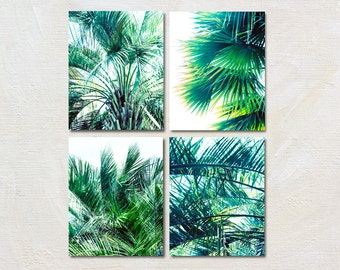 Palm Tree Photograph Set of Four Botanical Prints, 4 Picture Palm Artwork Set, Vertical Tropical Wall Art Collection, Nature Photo Series