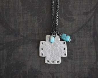 Silver Cross Pendant, Mission, Cross Necklace, Sterling Silver, Rustic, Artisan, Sterling Chain Chain, Silver Cross, 17 inch