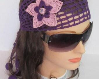 Uniqe Summer Purple Head bands for women, Flower Boho Adult Headband, Summer Head band, Purple Summer Headbands, Adult Flower Beach Headband