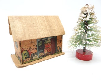 1930's German Christmas House Barn for Putz or Feather Tree