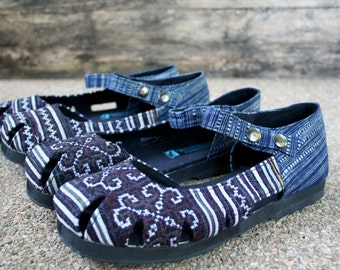 Womens Shoe Mary Jane Style In  Hmong Embroidery Vegan Espadrille Summer Shoes - Dahlia
