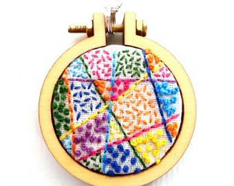 Hand embroidered ready made geometric bright colours pattern pendant with chain