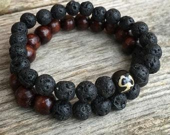Mens mala meditation pair of bracelets in wood and lava stone yoga jewellery