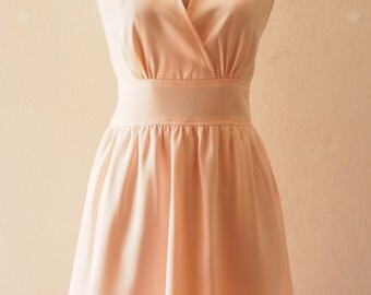 Pale Peach Boho Bridesmaid Dress Fit and Flare party Dress, Peach Dress Elegant Wedding Party Dress, Peach Prom Evening Dress - XS-XL,custom