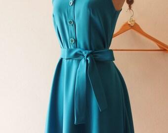 DOWNTOWN - Teal Shirt Dress, Teal Bridesmaid Dress, Teal midi Dress Casual Dress, 1950 Inspired Dress, Vintage Party Dress, XS-XL,Custom