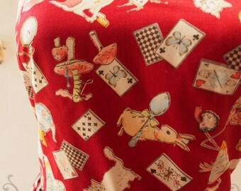 Alice in Wonderland Dress - Halloween Party Dress Red Maroon Vintage Inspired Dress Halter Dress Summer Dress Red Dress -Size XS-XL, custom