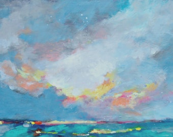 "Abstract Skyscape, Sky Painting, Clouds, Blue, Ocean Scene Original Artwork ""Oregon Beach Day"" 12x24"""