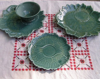50s GREEN LEAF Steubenville Woodfield Tea and Luncheon Set Leaf Pattern