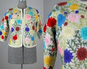 Vintage 1950s Sweater 50s Floral Embroidered Wool Cardigan by Gene Shelley's Boutique Size M/L