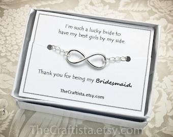 Sterling Silver Infinity Bracelet -IL Bridesmaid Infinity Bracelet, Infinity Bracelet, Bridesmaid Gifts, Infinity Jewelry, Infinity Bracelet