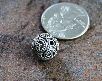 Bali Sterling Silver Ornate Bead, Oxidized, 13 x 12.5 mm, pkg of 1 bead