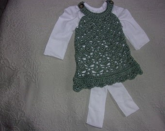 Hand crochet jumper/dress overlay/tunic..ready to ship in woodland heather green - size 6-9m