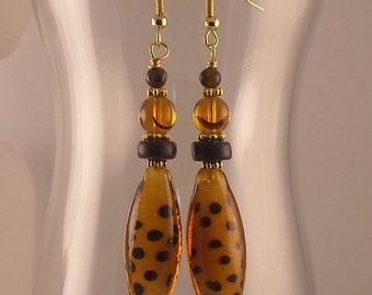 Afrocentric Glass Lampwork Beaded Dangle Earrings